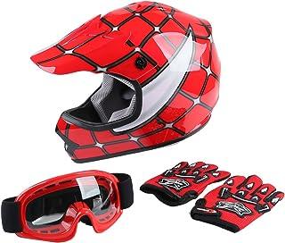 XFMT Youth Kids Motocross Offroad Street Dirt Bike Helmet Goggles Gloves Atv Mx Helmet Red Spider S