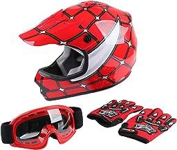 TCT-MT Helmet+Goggles+Gloves DOT Youth Kids Helmet Red Spider Net Motocross Off-Road Dirt Bike ATV Helmets Large