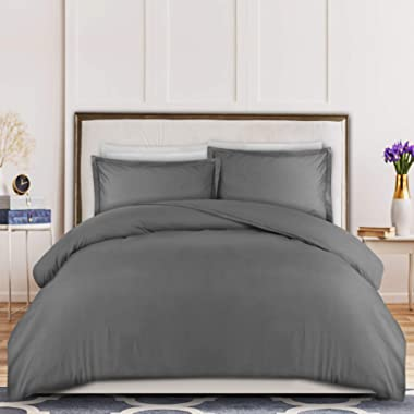 Utopia Bedding 3-Piece Duvet Cover Set – 1 Duvet Cover with 2 Pillow Shams - Soft Brushed Microfiber Fabric - Shrinkage and Fade Resistant - Easy Care (Queen, Grey)