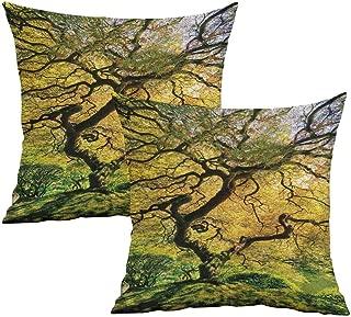 Khaki home Japanese Square Slip Pillowcase Large Maple with River Square Custom Pillowcase Cushion Cases Pillowcases for Sofa Bedroom Car W 24