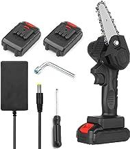 Kedelak Sierra de podar eléctrica portátil Sierra de cadena inalámbrica de 4 pulgadas con 2 paquetes de es de de una mano de batería recargable de 2.0 A Varibale Speed Mini sierra eléctrica