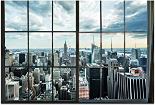 LevvArts - Large Manhattan New York City Skyline Canvas Prints Cityscape from Window Picture Photography Canvas Art with Inner Wood Frame Modern Home Decoration