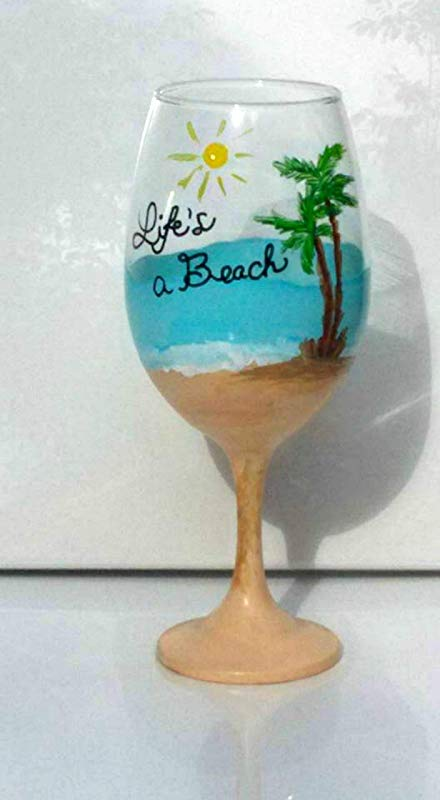 Life S A Beach Hand Painted Stemmed Wine Glass