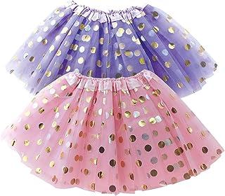 OLYPHAN Polka Dot Tutu Skirt for Toddler Girls/Tutu Set Pink Tulle Skirts & Purple Tutus Sets- Girl Dress Up Birthday Part...