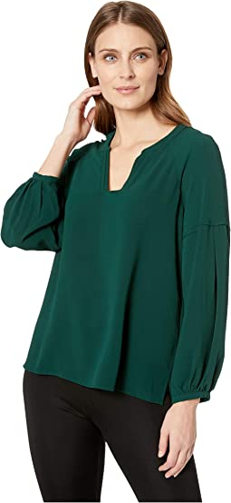 Bubble Sleeve Soft Texture V-Neck Blouse
