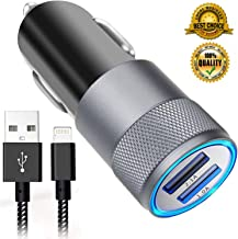 Car Charger, 3.1A Dual USB Car Charger Adapter, PowerDrive 2 Car Phone Chargers Compatible for iPhone XS/MAX/XR/X/8/7/7s/6/6s/5s/se/Plus, iPad, and More with 6ft Nylon Braided Charging Cable