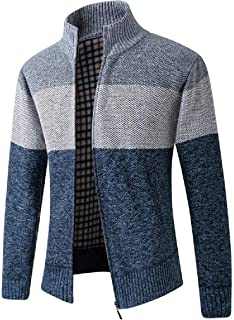 UUYUK Men Thick Stand Collar Zip Front Contrast Color Slim Knit Cardigan Sweater