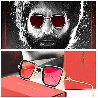 GAINX Square Metal Body Kabir Singh Sunglass for Men & Boy (Red, Sliver)