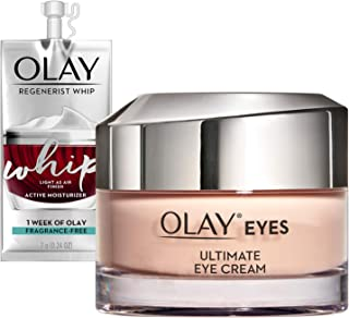 Olay Ultimate Eye Cream for Wrinkles, Puffy Eyes + Dark Circles, 0.4 Oz + Whip Face Moisturizer, Mothers Day Gift Set