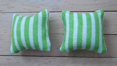 Stripes Design in Grey /& White 1//24th Scale Dolls House Printed Fabric Cushions
