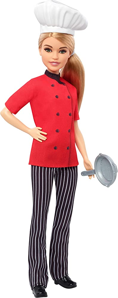Barbie,chef con padella ,con cappello da cuoco e capelli biondi FXN99