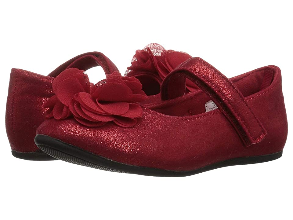 Baby Deer First Steps Shimmer Mary Jane with Flower (Infant/Toddler) (Red) Girl