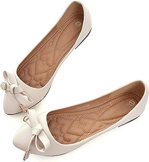 Women's Pointy Toe Metal Buckle Formal Dress Flats for OL Ladies Slip On Width Work Shoes
