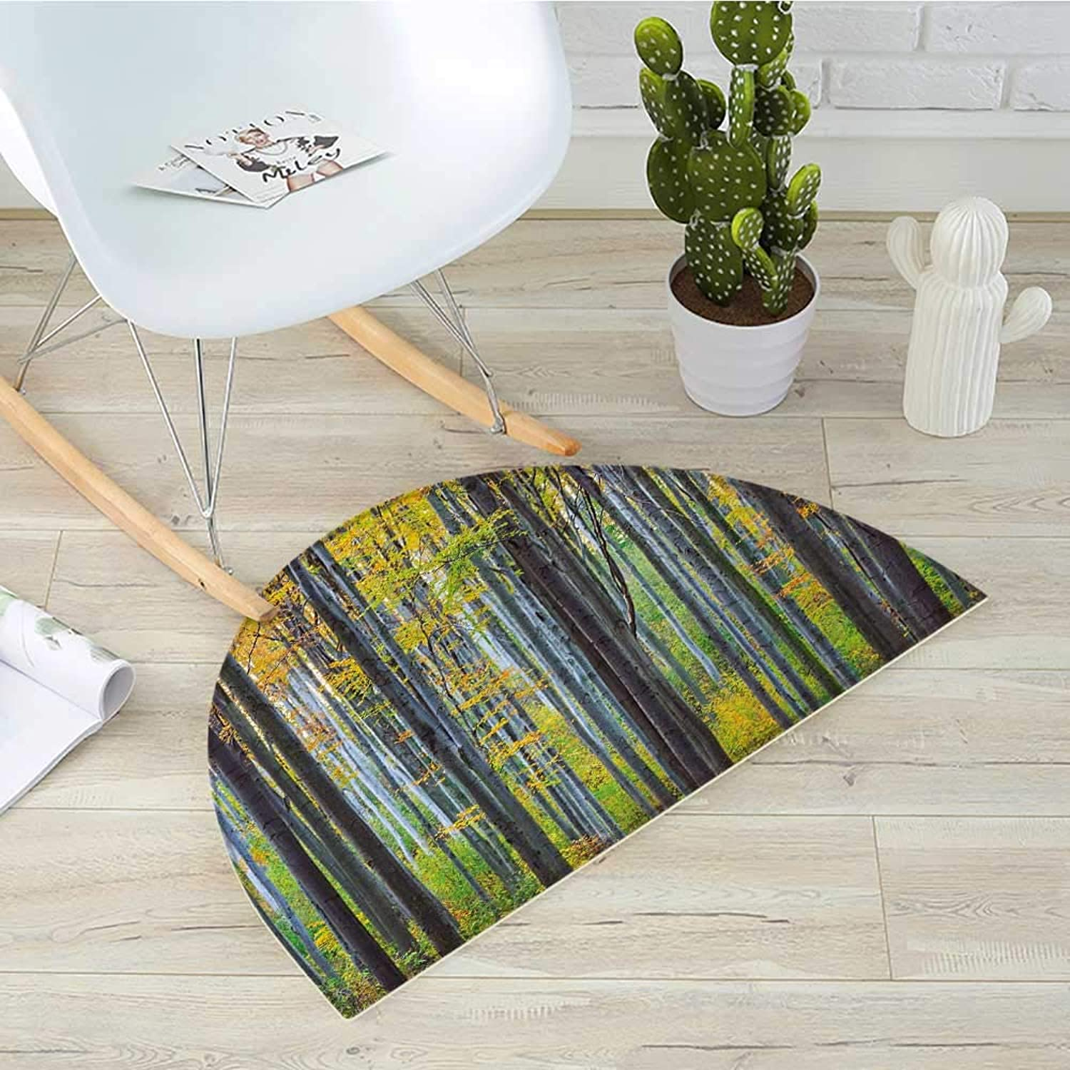 Fall Semicircular CushionLush Beech Fall Tree with Tall Bodies Wilderness Rural Countryside Themed Design Entry Door Mat H 19.7  xD 31.5  Grey Yellow