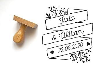Timbro matrimonio personalizzato, banner con nomi e data, stile floreale, 6 x 5 cm