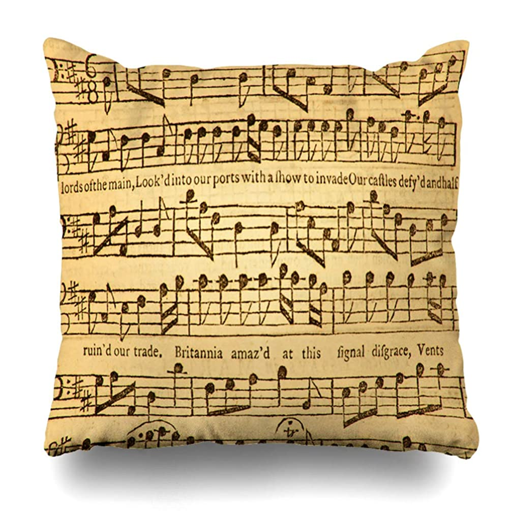 Ahawoso Throw Pillow Cover Square 20x20 Score Early Vintage Music Sheet Published London Old Antique Bar Musical Design Zippered Cushion Case Home Decor Pillowcase