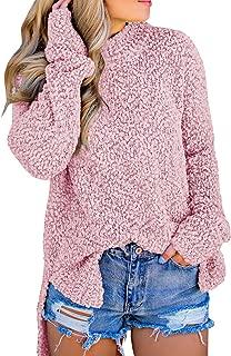 Womens Fuzzy Knitted Sweater Sherpa Fleece Side Slit Full...