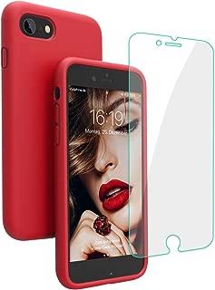 JASBON iPhone 8 Hülle, iPhone 7 Hülle, iPhone 7/8 Silikon Handyhülle Schutzhülle Bumper Case Schutz vor Stoßfest/Scratch Cover mit Kostenfreier Schutzfolie für iPhone 7 iPhone 8 Rot