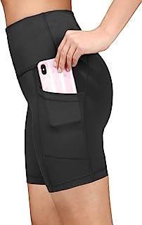 "Yogalicious Womens High Waist Running 7"" Biker Shorts with Side Pockets"