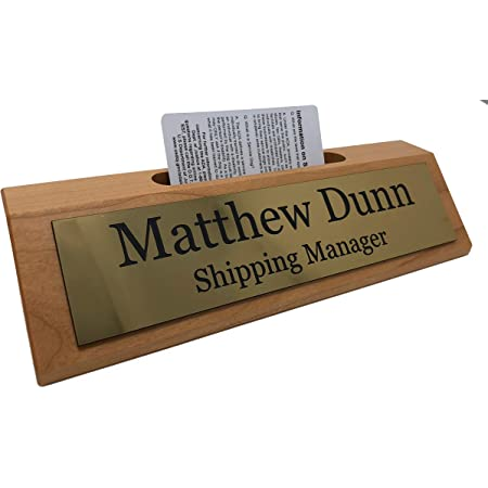 2 Lines of Engraving Custom Desk Name Plate Personalized Choose from tons of Styles and Colors Birch Wood w//Black Text, 8 Cherry w//Card Holder