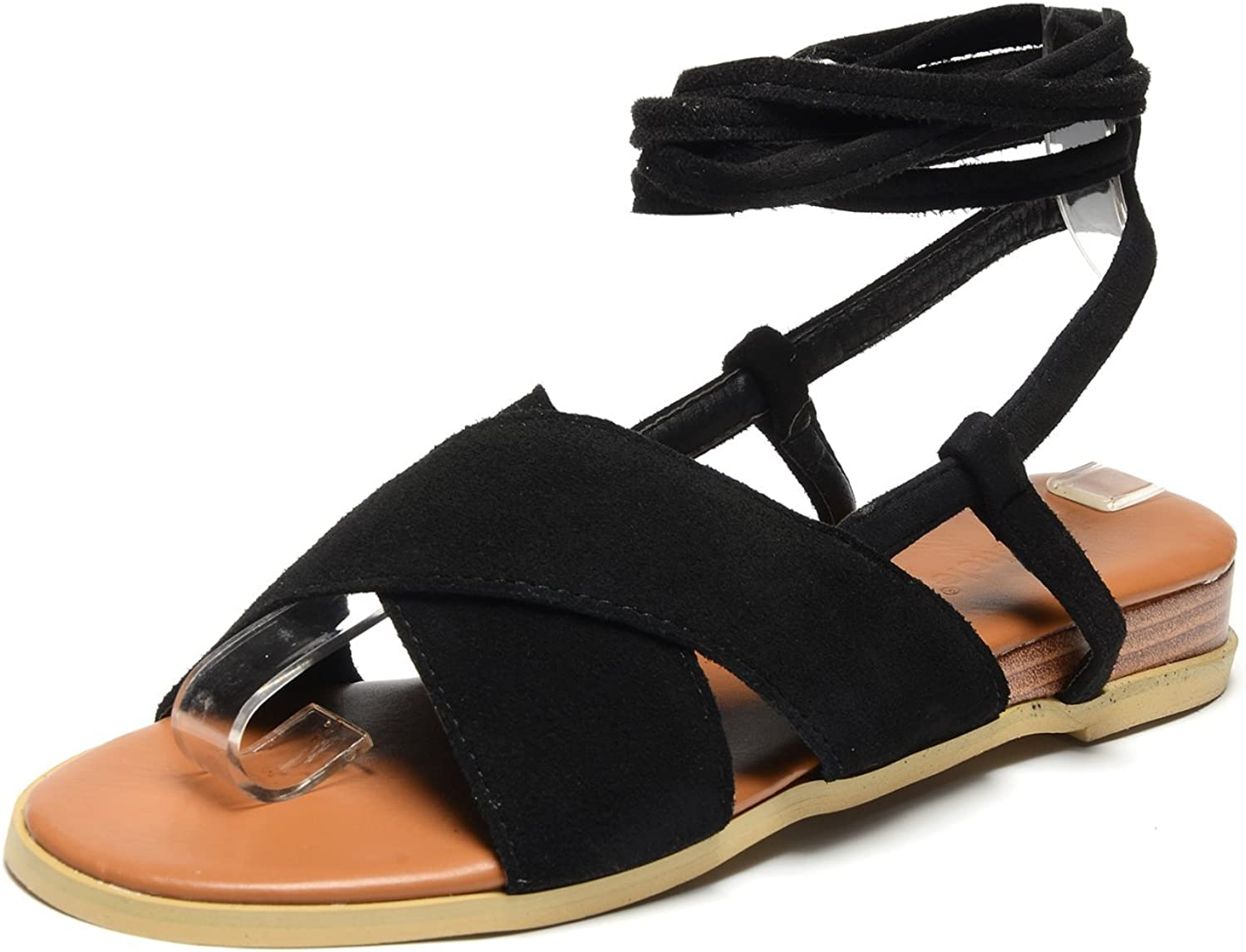 Odema Womens Slingback Flat Sandals Open Toe Lace Up Mid Calf Sandals Size 6-8.5
