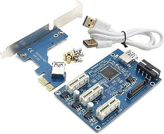 JIUWU PCI-e Express 1X to 3 Port 1X Switch Multiplier HUB Riser Card + USB Cable