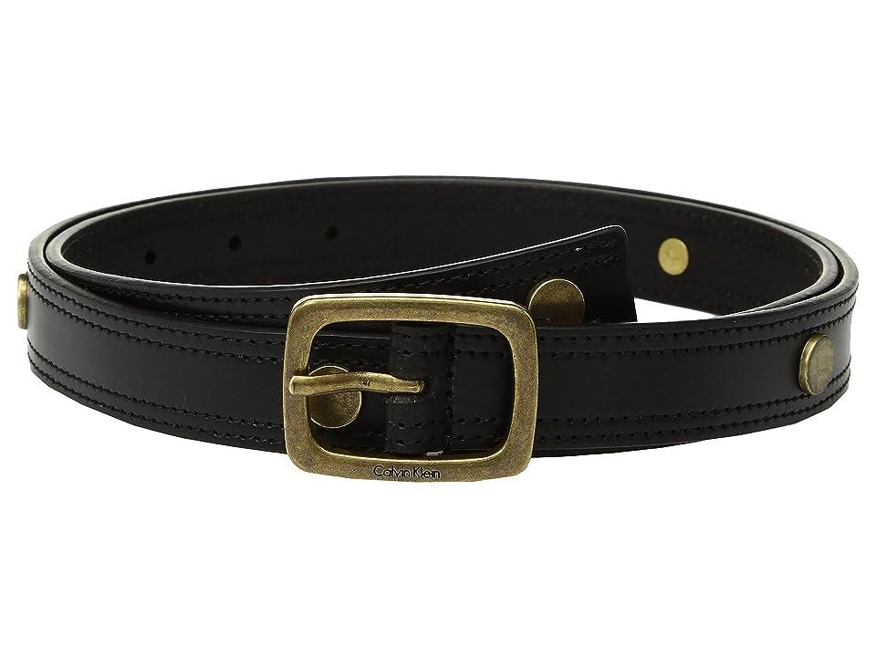 Calvin Klein Stitched Edge Belt w/ Disc Rivet (Black) Women