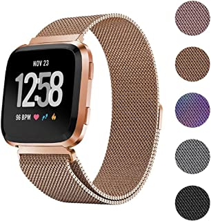 EEEKit Stainless Steel Large Loop Strap Wrist Band for Fitbit Versa Fitness Watch, Replacement Metal Bracelet Wristbands for Women Men