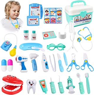 GobiDex Doctor Kit for Kids, Toy Doctor Kit, Pretend Play Dentist Medical Educational Doctor Role Play Dress-Up Toys with Electronic Stethoscope Coat for Toddlers Girls Boys 36PCS Carry Box