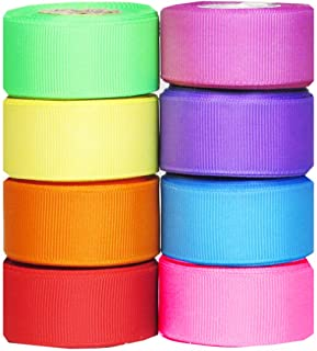 Q-YO Grosgrain/Satin Ribbon Combo for Crafts Gift Package Wrapping, Hair Bow Clips & Accessories Making, Sewing, Wedding D...