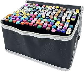 NICCOO Lot de 168 marqueurs TwinMarker de couleur professionnelle avec étui de transport, pointe biseautée, pointe ogive, ...