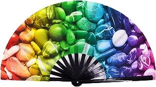 Amajiji Large Folding Fan, Chinease/Japanese Bamboo and Nylon-Cloth Folding Hand Fan, Hand Folding Fans for Women/Men, Hand Fan Festival Fan Gift Fan Craft Fan Folding Fan Dance Fan (Stone)
