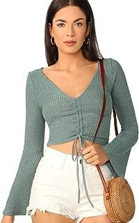 SweatyRocks Women's Long Sleeve V Neck Drawstring Knit Pullover Sweater Crop Top
