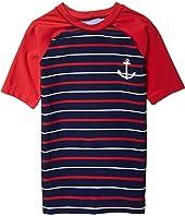 Nautical Stripe Short Sleeve Rashguard (Toddler/Little Kids/Big Kids)