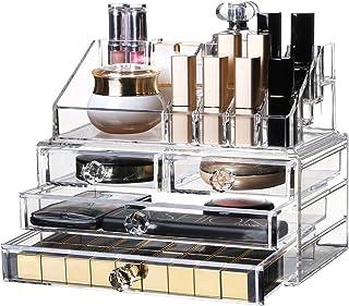 化粧品収納ボックス OBOR(オビオア) 化粧品収納ラック 透明化粧品ケース メイクボックス メイクケース コスメボックス 強い耐久性 整理簡単 引き出し小物/化粧品入れ おしゃれ 透明アクリル 化粧品入れ コスメ収納 アクリルケース レディース (クリア)