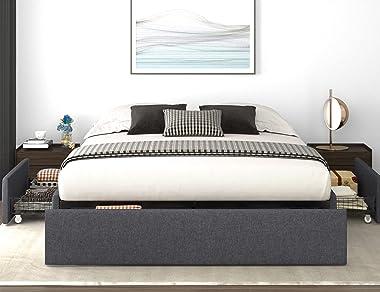 Allewie Queen Size Platform Bed Frame with 3 Storage Drawers, Upholstered Wing Side Panel Design, Wooden Slats Support, No Bo