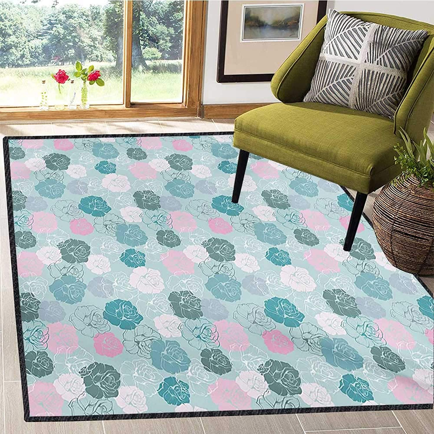 Navy and bluesh, Area Rug Non Slip, Retro Style pink Motifs Silhouettes Romantic Fantasy Seasonal Garden, Door Mats for Inside Non Slip Backing 6x7 Ft Seafoam Pink White