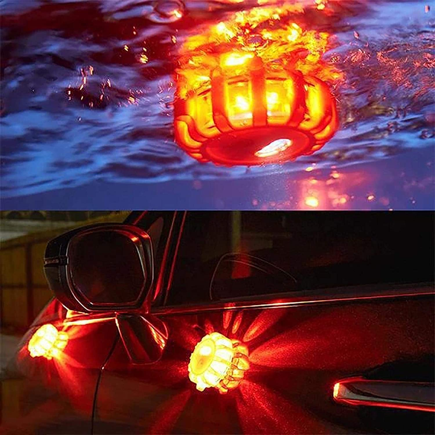 4.13x1.38inch Roadside Warning Car Safety Flare Kit Magnetic Waterproof Flashing Disk S5E5X 3PC LED Road Flares Emergency Lights 9 Flash Modes Blue for Vehicles 3 Beacon Disc Pack
