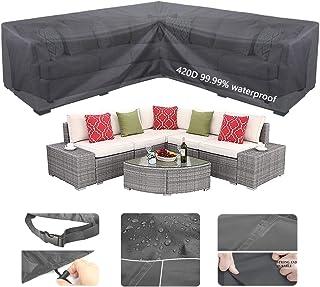 Garden Furniture Covers 215*215*70cm, 420D V-Shape Heavy Duty Oxford Polyester Garden Rattan Corner Furniture Cover, 98% W...