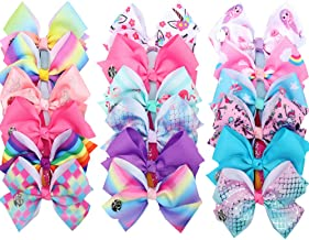 18pcs Hair Bows Clips for Girls - 5 Inches Alligator Clips for Girls Large Bow Unicorn Rainbow Grosgrain Ribbon Hair Barrettes Accessories for Toddler Teens Kids … (18PCS)
