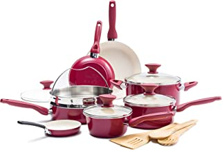 GreenPan Rio Healthy Ceramic Nonstick, Cookware Pots and Pans Set, 16-Piece, Red,CC002330-001