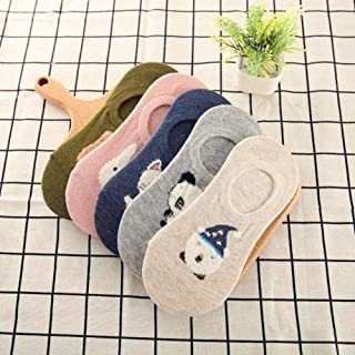 5Pairs Women Socks Funny Fruits Cute Happy Silicone Slip Invisible Cotton Sock