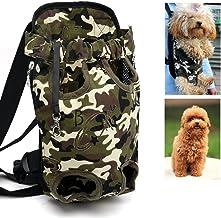 Xiaoyu Mochila Porta Mascotas, Ajustable, sin Manos, con Las piernas Abiertas y Transpirable Mochila portadora Delantera de Gato Perro, Camuflaje Negro, S