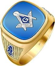 US Jewels And Gems Customizable Men's Two Tone 10k Gold Open Back Blue Stone Blue Lodge Freemason Masonic Ring