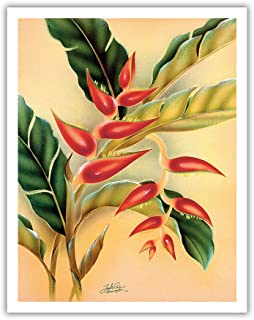 Pacifica Island Art Heliconia - Vintage Hawaiian Airbrush Art by Frank Oda (Hale Pua Studio) c.1940s - Hawaiian Fine Art Print - 11in x 14in
