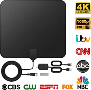 TV Antenna Indoor TV Antenna, TICTID Digital HDTV Antenna Up to 120 Miles Range, 4K 1080P Free Local Channels TV Antenna with Amplifier Signal Booster and 4.4M Coaxial Cable