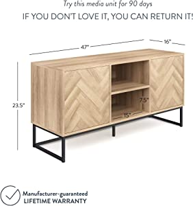 Nathan James Dylan Media Console Cabinet or TV Stand with Doors for Hidden Storage in a Natural Reclaimed Herringbone Wood Pattern and Metal, Oak/Matte Black