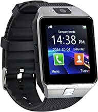 Amoji Smart Wrist Watch DZ09 Bluetooth Smart Watch Bluetooth Smartwatch Phone Support SIM TF Card with Camera Pedometer for IOS Android Phones (Silver)