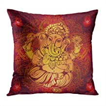 Meofo Throw Pillow Cover Isolated Image Abstract Ephant Art Elephant Hindu Chaturthi Decorative Polyester Soft Pillowcase for Sofa Office Cushion Bedroom Car Square 20 x 20 Inch