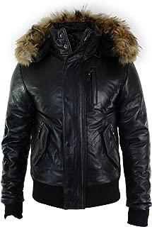 Mens Real Fur Hood Bomber Leather Jacket Black Puffer Padded Black s